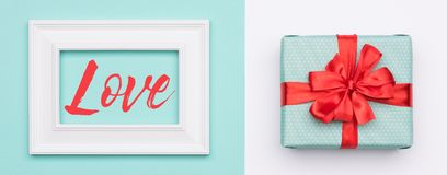 Happy Mother`s Day, Women`s Day, Valentine`s Day or Birthday Background. Pastel Blue Candy Colour flat lay web banner. Happy Mother`s Day, Women`s Day Royalty Free Stock Images