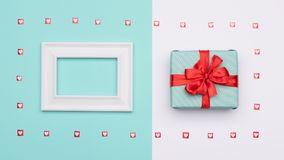 Happy Mother`s Day, Women`s Day, Valentine`s Day or Birthday Background. Pastel Blue Candy Colour flat lay web banner. Happy Mother`s Day, Women`s Day Royalty Free Stock Image