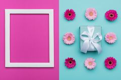 Happy Mother`s Day, Women`s Day, Valentine`s Day or Birthday Pastel Blue and Pink Candy Colour Background. Floral flat lay