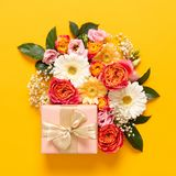 Happy Mother`s Day, Women`s Day, Valentine`s Day or Birthday Pastel Candy Colors Background. Floral flat lay greeting card. Happy Mother`s Day, Women`s Day royalty free stock images