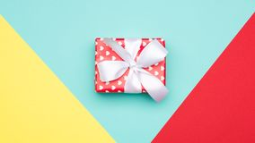 Happy Mother`s Day, Women`s Day, Valentine`s Day or Birthday Pastel Candy Colours Background. Flat lay banner with present. Happy Mother`s Day, Women`s Day royalty free stock images