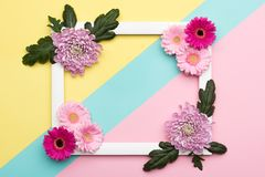 Floral flat lay. Happy Mother`s Day, Women`s Day, Valentine`s Day or Birthday Pastel Candy Colours Background. . Happy Mother`s Day, Women`s Day, Valentine`s stock photos