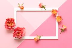 Happy Mother`s Day, Women`s Day, Valentine`s Day or Birthday Pink Pastel Colored Background. Flat lay mock up greeting card. Happy Mother`s Day, Women`s Day stock photo