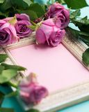 Happy Mother`s Day, Women`s Day, Valentine`s Day or Birthday Flat Lay Background. Vintage picture frame, fresh pink roses. Happy Mother`s Day, Women`s Day Stock Photos