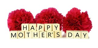 Happy Mother's Day wood blocks with carnations Stock Photography