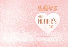 Happy Mother's Day word on paper heart in pink pastel glitter room,Leave space for adding your content,holiday concept Royalty Free Stock Photo