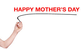 Happy mother's day word write on white background. By woman hand holding highlighter pen royalty free stock image