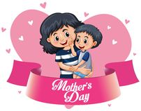 A happy mother`s template stock illustration