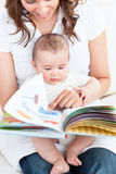 Happy mother showing a book to her baby on sofa Royalty Free Stock Images