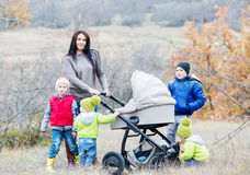 Happy mother with small children Royalty Free Stock Image