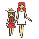 Happy mother with smiling daughter on vacation concept. vector illustration