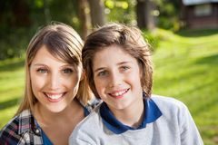 Happy Mother And Son At Campsite Stock Image