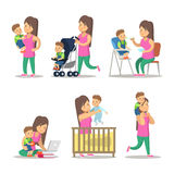 Happy Mother and Son Cartoons. Motherhood and Parenting. Vector character illustration Stock Images