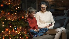 Online shopping for Christmas gifts stock image