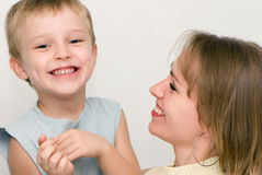Happy mother with the son. Emotions Royalty Free Stock Photo