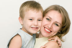 Happy mother with the son. Emotions Royalty Free Stock Images