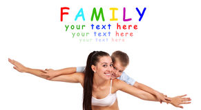 Happy mother and son having fun together Stock Photos