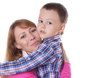 Happy mother and son hugging Royalty Free Stock Image
