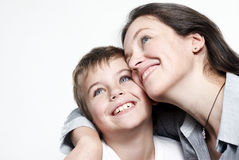 Happy mother with the son isolated Stock Photography