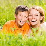 Happy mother and son in park Royalty Free Stock Photography