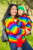 Happy mother and son in park Stock Photo