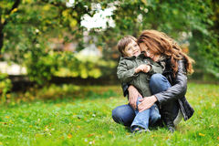 Happy mother and son portrait outdoors Royalty Free Stock Photo