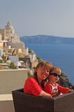 Happy mother and son on Santorini vacation Royalty Free Stock Photo