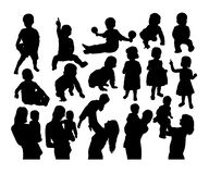 Happy Mother And Son Silhouettes Activity Stock Image