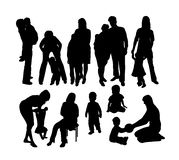 Happy Mother and Son Silhouettes, art vector design. Happy Silhouette Kids  Activity, art vector design Royalty Free Stock Photos