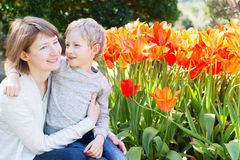 Happy mother and son Stock Images