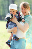 Happy mother and son in spring. Time Royalty Free Stock Photos
