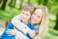 Happy mother and son in summer Stock Photo