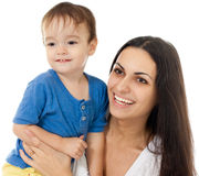 Happy mother and son together isolated Stock Photos