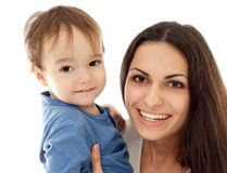Happy mother and son together isolated Stock Image