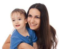Happy mother and son together isolated Royalty Free Stock Photo