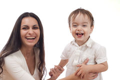Happy mother and son together mother is blured Royalty Free Stock Images