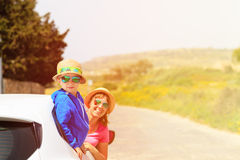 Happy mother and son travel by car in summer Royalty Free Stock Image