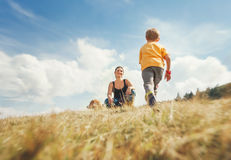 Happy mother and son walk on the golden field with dog royalty free stock photo