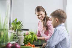 Happy mother and son washing vegetables in kitchen Stock Image