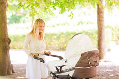Happy mother with stroller in park Stock Image