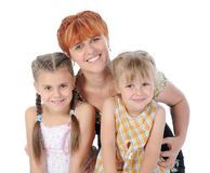 Happy Mother talking with her daughters. Stock Photos