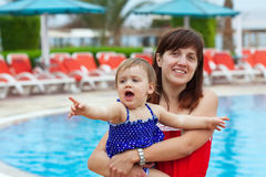 Happy mother with  toddler   at resort Royalty Free Stock Photography