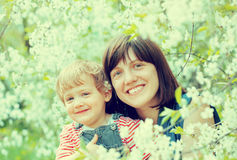 Happy mother with toddler  in spring Stock Photography