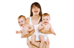 Happy mother and twins baby Stock Photo