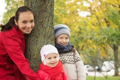 Happy mother and two children Royalty Free Stock Images