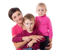 Happy mother and two children Royalty Free Stock Image