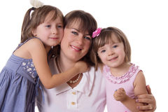 Happy mother with two little daughters Royalty Free Stock Photography