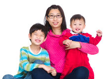 Happy mother with two son Stock Photo