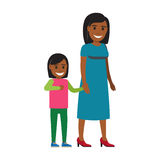 Happy Mother Walking with Daughter Flat Vector Stock Image