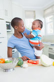 Happy mother wih his babyboy Stock Images